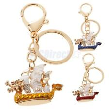 Dragon Boat Keychain Crystal Keyring Key Chain Purse Bag Car Decoration Gifts