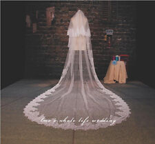 Bride Lace edge 2 layer Cathedral veil White/ivory long Wedding dress veil+ comb