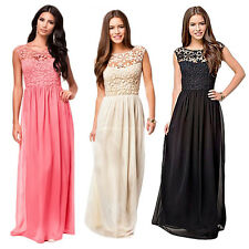 Women Lace Long Dress Chiffon Evening Formal Backless Bridesmaid Prom Ball Gown