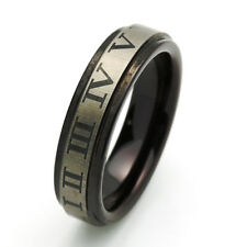 Men 6MM Comfort Fit Tungsten Carbide Wedding Band Roman Number Black Ring