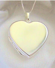 Solid 925 Sterling Silver Engravable Heart Locket Necklace Box Toggle Chain Gift