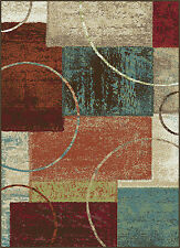 Multi-Color Squares Contemporary Blocks Area Rug Modern Circles Rings Carpet