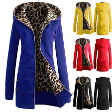Fashion Women Warm Coat Winter Hooded Leopard Parka Overcoat Long Jacket Outwear