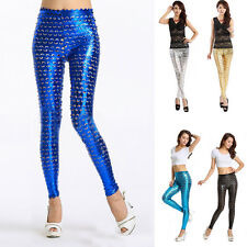 Women's Punk Pants Metallic Look Hollow Out Fish Scale Hole Rock Tight Leggings