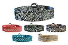 DRAGON SKIN GENUINE LEATHER Dog Collar * Sprinkle Aurora Borealis AB Crystals