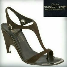 Donald Pliner Women's Nell Expresso Brown Leather Wedge Strappy Sandal NARROW