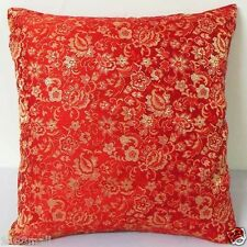 Sofa CUSHION COVER (Light Gold Floral-Red) Chinese Brocade Pillow Case