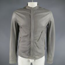 DOLCE & GABBANA 38 Light Gray Leather Hidden Placket Moto Jacket