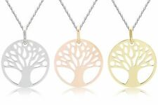 925 Sterling Silver Yellow Rose Gold TREE OF LIFE Pendant & ROPE Chain NECKLACE