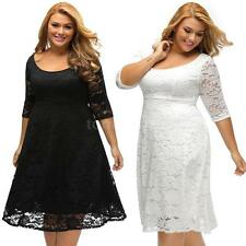 Women Plus Size Lace Dress Floral O-Neck 3/4 Sleeves High Waist Party Dress Z3R1