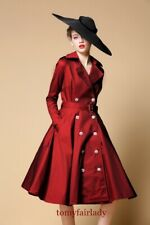 double breasted pinup swing  Skater  Flare TRENCH COAT PLUS 1x-10x (16-52)G459