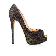 Classic Women's Peep Toe Platform High Heels Glitter Decoration Stilettos Black