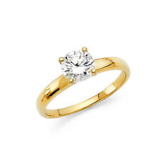14K Solid Yellow Gold 1.0 ct Round Cut Diamond Solitaire Engagement Ring