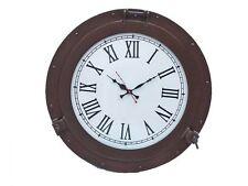 "Handcrafted Nautical Decor Deluxe Class Porthole 17"" Clock"