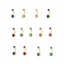 18ct GOLD PLATED Surgical Steel Double Jewelled Belly Bar - FREE UK Delivery!