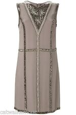 French Connection Silk Winter Bex V Neck Bead Embellished Shift Party Dress 8 12