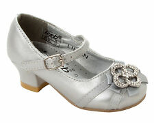 GIRLS SILVER DIAMANTE BRIDESMAID PARTY WEDDING FORMAL SANDALS SHOES UK SIZE 6-3