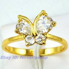 7#,8#,9# RING 10mm,3g CZ STONE BUTTERFLY THIN EDGE 18K YELLOW GOLD PLATED GP GEP