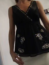 NEW OASIS BLACK SEQUIN SILK TOP Size 8, 10