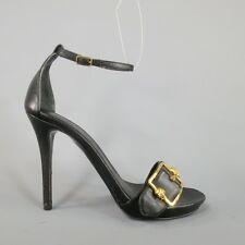 ALEXANDER MCQUEEN Size 8.5 Black Leather Gold Skull Buckle Ankle Strap Sandals