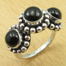 925 Sterling Silver Overlay Authentic BLACK ONYX Size UK M Ring Exceptional Gift