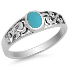 Fine Men Women 6mm 925 Sterling Silver Simulated Turquoise Filigree Ring Band