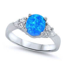 Fine Women 8mm 925 Sterling Silver Oval Simulated Blue Opal Ladies Ring Band