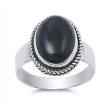 Fine Women 12mm 925 Sterling Silver Oval Simulated Black Onyx Cocktail Ring Band