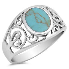 Fine Women 12mm 925 Sterling Silver Oval Simulated Turquoise Filigree Ring Band