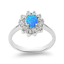 Fine Women 13mm 925 Sterling Silver Simulated Blue Opal Flower Ladies Ring Band