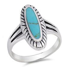 Fine Women 21mm 925 Sterling Silver Oval Simulated Turquoise Ring Band