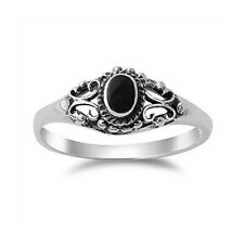 Fine Men Women 7mm 925 Silver Simulated Black Onyx Vintage Promise Ring Band