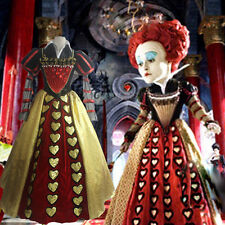 Alice in Wonderland Cosplay Costume Red Queen of Hearts Fancy Dress Adult Gown F