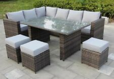 Conservatory 9 Seat Rattan Corner Sofa Dining Table Garden Furniture Patio Set