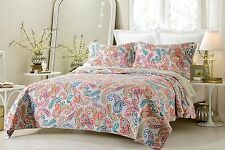 Luxury and Chic Paisley Print Quilted Coverlet Set AND Pilow Shams