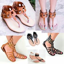 Women's Gladiator Sandals Flat Summer Casual Strappy Wedge Faux Leather Shoes