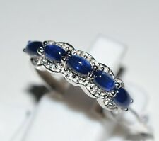 Pure 925 Solid Sterling Silver Genuine Blue Sapphire Ring Size 6 (US)