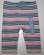 baby Gap NWT Girl 12 18 Mo. Pink & Navy Blue Striped Capri Cropped Leggings