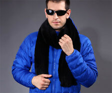 Men's 100%Real Knitted Farm Mink Fur Stole Cape Shawl Perfect Coming Worth Scarf