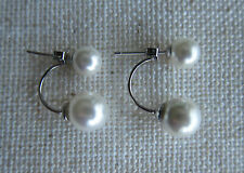 Double Pearl & Diamante Stud  Drop, 925 Sterling Silver Earrings - NEW.