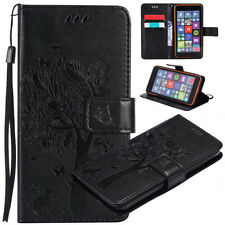Cats and trees Patterned PU Leather Wallet Flip Case Cover For Various Phones