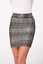 Hale Bob Black Stretch Banded Mini Skirt Foiled XS NWT 0NGT4807 *