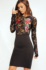 LADIES GIRLS FLORAL LACE FLOWER EMBRIODERED TOP BODYCON FITTED MIDI DRESS BLACK