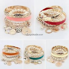 Fashion Womens Girl's Multi-Layer Hand Pearl Beads Bangle Chain Bracelet Bangle