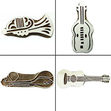 Musical Instruments Wooden Block Hand Carved Printing Blocks Indian Stamp 4 x 2