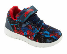 BOYS OFFICIAL MARVEL SPIDERMAN NAVY BLUE CANVAS TRAINERS SHOES KIDS UK SIZE 7-1