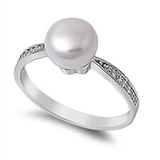 Women 8mm 925 Silver Freshwater Cultured Pearl CZ Ladies Vintage Style Ring Band