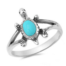 Women 14mm 925 Sterling Silver Oval Turquoise Turtle Vintage Style Ring Band