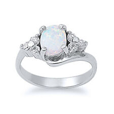 Women 10mm 925 Sterling Silver Oval White Opal Ladies Vintage Style Ring Band
