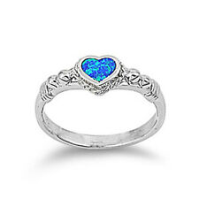 Women 7mm 925 Sterling Silver Blue Opal Heart Promise Vintage Style Ring Band